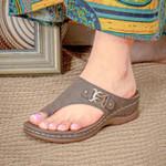 Women Casual Soft Metal Design Flat Flip Flops