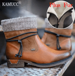 Round Toe Low-Heeled Retro Women's Cotton Boots