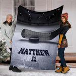 Hockey Custom Blanket Puck And Stick On Ice