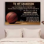 (Cv565) Basketball Grandma To Grandson Never Lose Canvas
