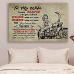 (Ll16) Biker Canvas - To My Wife - You Are Braver