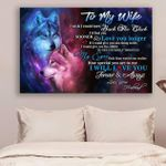 (Ll63) Customizable Wolf Canvas - Husband To Wife- Love You Longer
