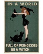 Black Cat Canvas Wall Art - In A World Full Of Princesses   - Anniversary Birthday Christmas Housewarming Gift Home