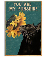 Black Cat Canvas Wall Art - You Are My Sunshine - Anniversary Birthday Christmas Housewarming Gift Home