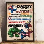 Personalized Name Daddy You Are My Favorite Superhero Wood Frame Canvas. Dad Gift - Dad Gift Father's Day- Dad Birthday Gift