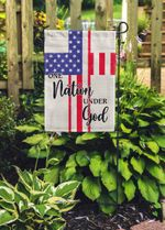 4th of July Double Sided Flag, One Nation Under God Patriotic Flag, Stars and Stripes Garden Flag, Independence Day, Yard Decor