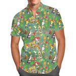 Orange Bird & Tiki Friends - Disney World Inspired Men's Button Down Short-Sleeved Shirt