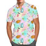 Watercolor Monsters - Disney Pixar Inspired Men's Button Down Short-Sleeved Shirt
