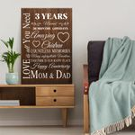 Wedding Anniversary Gifts, 3 years married Love is all you need Canvas Gift For Dad and Mom