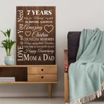 Wedding Anniversary Gifts, 7 years married Love is all you need Canvas Gift For Dad and Mom