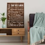 Wedding Anniversary Gifts, 50 years married Love is all you need Canvas Gift For Dad and Mom