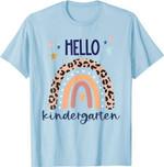 Back to school 2021 - Hello Kindergarten Retro Leopard Rainbow Back to School Shirt For kids and teachers