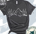 Mountains t-shirt, Hand Drawn Mountain Hiking Tshirt, Graphic Design Tee, Camping Tee, Outdoor Graphic Shirt
