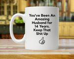 14th Anniversary Mug, Gift for Husband, Him, Couple, Gift for 14 Year Anniversary