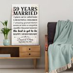 Personalized Wedding Anniversary Gifts, 59 years married Happy anniversary Canvas Gift For Wife/Husband, for Him/Her