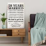 Personalized Wedding Anniversary Gifts, 58 years married Happy anniversary Canvas Gift For Wife/Husband, for Him/Her