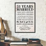 Personalized Wedding Anniversary Gifts, 51 years married Happy anniversary Canvas Gift For Wife/Husband, for Him/Her