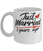8th Wedding Anniversary Mug, Gift for Couple, Husband & Wife, Him & Her, Just Married 8 Years Ago