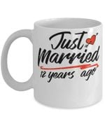 12th Wedding Anniversary Mug, Gift for Couple, Husband & Wife, Him & Her, Just Married 12 Years Ago