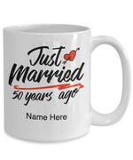 50th Wedding Anniversary Mug, Gift for Couple, Husband & Wife, Him & Her, Just Married 50 Years Ago