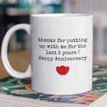 5th Wedding Anniversary Mug Gift for Couple, Husband. Him, 5 Year Anniversary Gift For Him