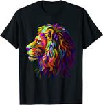 Colorful Lion Head Design Pop Art Style T-Shirt