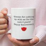 9th Wedding Anniversary Mug Gift for Couple, Husband. Him, 9 Year Anniversary Gift For Him