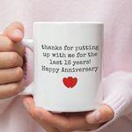 16th Wedding Anniversary Mug Gift for Couple, Husband. Him, 16 Year Anniversary Gift For Him