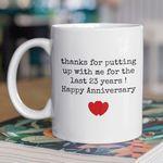 23rd Wedding Anniversary Mug Gift for Couple, Husband. Him, 23 Year Anniversary Gift For Him