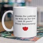 36th Wedding Anniversary Mug Gift for Couple, Husband. Him, 36 Year Anniversary Gift For Him