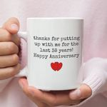 38th Wedding Anniversary Mug Gift for Couple, Husband. Him, 38 Year Anniversary Gift For Him