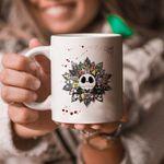 Sunflower Ja.ck Sk.elling.ton Mug, Nightmare Before Christmas Characters Mug, Horror Movie Mug, Halloween Mug, Horror Fan Mug, Halloween Gift