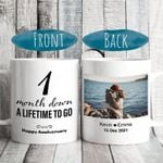 1 Month Anniversary Gift for Him Her - 1 Month Down A Lifetime To Go Mug - Personalized Photo Happy 1st Coffee Cup for Boyfriend Girlfriend