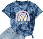Back to school 2021 - Rainbow Teacher T-Shirt Women Teacher Love Heart Cute