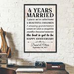 4th Wedding Anniversary Gifts Poster For Couple, Grandparents, Grandpa, Grandma
