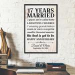 17th Wedding Anniversary Gifts Poster For Couple, Grandparents, Grandpa, Grandma