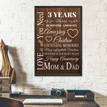 3rd Wedding Anniversary Gifts Poster For Parent, Couple, Mom & Dad
