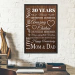 30th Wedding Anniversary Gifts Poster For Parent, Couple, Mom & Dad