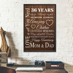 36th Wedding Anniversary Gifts Poster For Parent, Couple, Mom & Dad