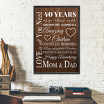 40th Wedding Anniversary Gifts Poster For Parent, Couple, Mom & Dad