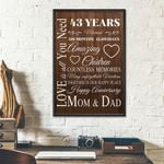 43rd Wedding Anniversary Gifts Poster For Parent, Couple, Mom & Dad