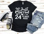 Wedding anniversary gifts, Just Married 24 Years Ago, Married for 24 Years Shirt, gift for her/him, for husband/wife