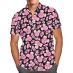 Fuchsia Pink Floral Minnie Ears - Disney Inspired Men's Button Down Short-Sleeved Hawaii Shirt
