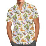 Watercolor Disney Parks Trains & Drops - Disneyland Inspired Men's Button Down Short-Sleeved Hawaii Shirt