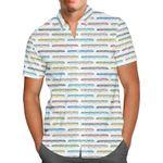 Disney Monorail Rainbow - Disney Parks Inspired Men's Button Down Short-Sleeved Hawaii Shirt