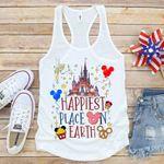 Happiest Place Earth Women premium Tank Top, Disney World Tank, Disneyland Shirt, Womans Disney Shirt, Disney Trip Tank