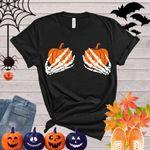 Skeleton Hands Shirt, Funny Halloween Shirt, Happy Halloween Shirt, Halloween Party, Trick or Treat Shirt, Hand Bra Shirt