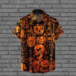 Halloween Night Hawaiian Shirt, Halloween gifts, Pumpkin Skull Hawaiian Aloha Shirt, Cool Men Shirt