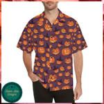 Halloween Pumpkin Pattern Hawaii Shirt - Halloween Short-Sleeve Shirt