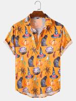 Halloween Pumpkin Cartoon Funny Shirts  - Halloween Short-Sleeve Shirt